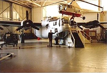 Jack Burgess inspecting B24 Liberator KN751 at Cosford, after Doug Connor flew it safely back.