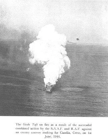The 'Girda Toft' on fire, 13th June 1944