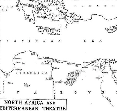 Map of N.Africa and Mediterranean Theatre.  Scene of Library Ref. 111
